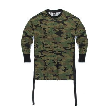 2018 Kanye Camo Camouflage Hip Hop Swag Skate Brand-clothing Tyga Long Sleeve Quality Fashion Men Top Tee T-shirt