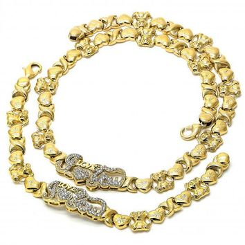 Gold Layered 06.185.0006 Necklace and Bracelet, Hugs and Kisses and Teddy Bear Design, with White Crystal, Polished Finish, Golden Tone