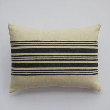"Traditional French Grain Sack Pillows, Charcoal Gray Stripes, Decorative Pillow Covers, 12"" x 16"""