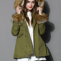 Hit The Road Detachable Faux Fur Jacket Green