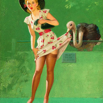 Pin-Up Girl Wall Decal Poster Sticker - Ostrich Feathers - Blonde Pinup Pin Up