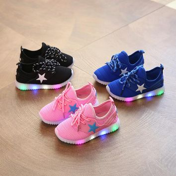Children Shoes Gilr Boy Glowing Sneaker Spring Summer Knitted breathable LED Light Up Shoes Sneaker Luminous For Girls Boys