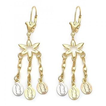 Gold Layered 02.63.2275 Chandelier Earring, Guadalupe Design, Tri Tone