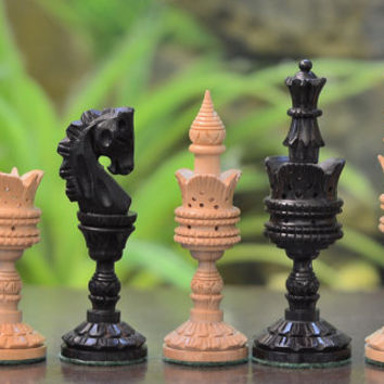 "The Lotus Series Handcarved Wooden Chess Pieces in Ebony & Box Wood - 4.3"" King. SKU: M0004"