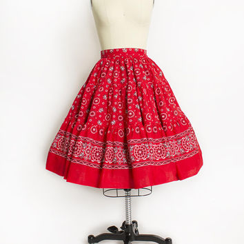 Vintage 1950s Circle Skirt -Red Bandana Print Cotton Western High Waisted Full Skirt 50s - Medium M