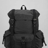 Feathers Waxed Cotton Canvas Rucksack- Washed Black One