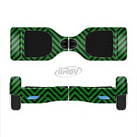 The Green & Black Sharp Chevron Pattern Full-Body Skin Set for the Smart Drifting SuperCharged iiRov HoverBoard