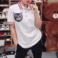 """Gucci"" Women Casual Multicolor Stripe Lapel Cat Head Print Short Sleeve Polo Shirt Top Tee"