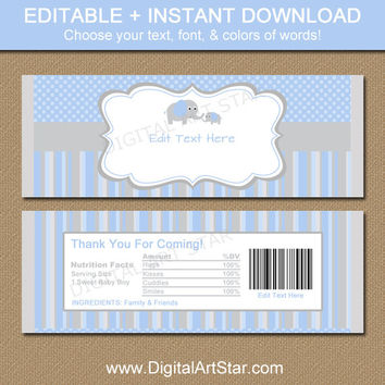 baby shower chocolate bar wrappers blue gray elephant candy wr