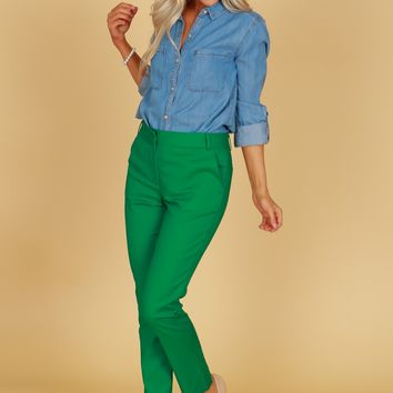 High Rise Straight Leg Trousers Kelly Green