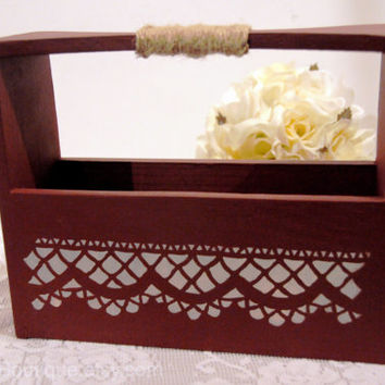 Wedding Advice Box, Alternative Guest Book, Advice for Bride and Groom, Wooden Keepsake Box Gift, Basket, Twine, Reception Decor, Maroon