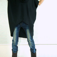 Women Black Cotton Asymetrical Oversized T-Shirt Tunic Dress Plus Size Top