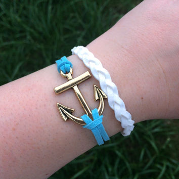 Anchor Bracelet Nautical Light Blue & White Sailor