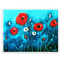 Red Poppies Print 11x14, Flower Wall Art, Poppy Art, Giclee Print from Original Painting, Signed Archival Print