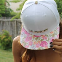 White Studded Floral Snapback