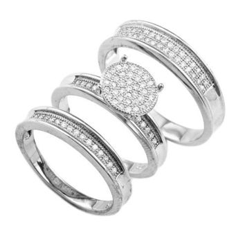 925 Sterling Silver 10mm Round Flat Striped Pave 2 Piece Engagement Ring for Women and Matching Men's Band Ring Set Sizes 6-9