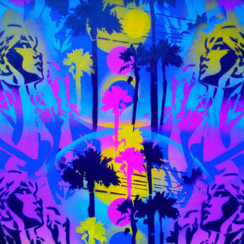 1 DIGITAL DOWNLOAD,Paradise painting,woman,palm trees,stencil art,spray paint art,yellow,purple,blue,abstract,beach,sunshine,pop art,comics