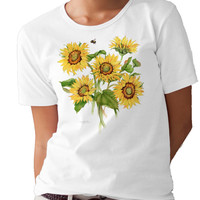 Sunflowers and Bumblebees T-shirt/tee by Valerie Pfeiffer