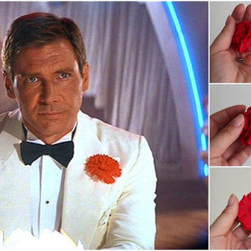 BIG Red Linen Carnation, Harrison Ford style, mens boutonniere, groomsmen lapel pin, mens lapel flower