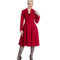1950s Style Burgundy Button Up Colleen Dress Coat