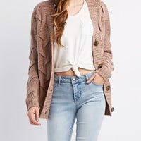 Cable Knit Open-Front Cardigan | Charlotte Russe