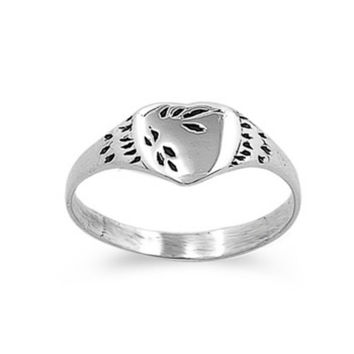 Sterling Silver CZ Heart Ring Size 1-5