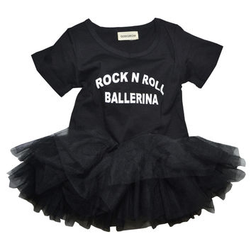 "QUIKGROW ""Rock N Roll Ballerina"" Slogan Black Baby Girl Dress Snap Button Short-sleeve Toddler Kiddie Tulle Tutu Costume NY03QZ"