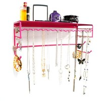 """Pink 17"""" Wall Mount Jewelry & Accessory Storage Rack Organizer Shelf for Earrings, Bracelets, Necklaces, & Hair Accessories"""