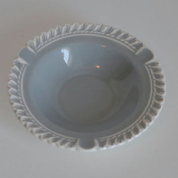 HARKERWARE Ashtray- Chesterton Pattern- Pate sur Pate Pottery- Soft Grey White Trim Trinket Dish- 1940's Elegant Barware