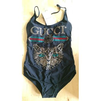 Cat Gucci Summer Beach Wear Classic One Piece Bikini Swimsuit Bathing Suits