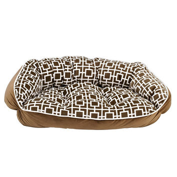 Crescent Bolstered Dog Bed — Courtyard Taupe MicroVelvet / Toffee MicroVelvet