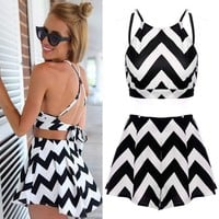 FINEJO Sexy Women 2 Piece Set Dress Halter Crop Tops and Pants Jumpsuit