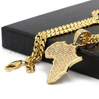 Stainless Steel Gold Iced Out Africa Map Pendant w/ 5mm Miami Cuban Chain