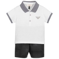 Armani Baby Boys White & Navy Set