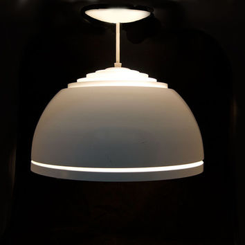 Mid Century Modern Lightolier White Pendant - Vintage, Retro Hanging Light