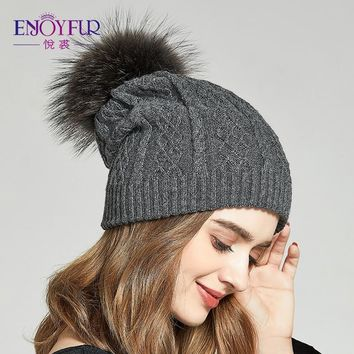 10068486fec ENJOYFUR Winter Slouchy Hats For Women Real Raccoon Fur Pompom B