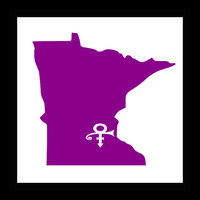 State car decal, Minnesota , MN, window sticker, vinyl decal, custom decal, Chanhassen MN, in memory of Prince, Purple state decal