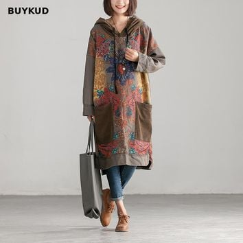BUYKUD Cotton Autumn Winter Hoodie Dress Fashion Casual Loose Patchwork Print Long Sleeve Dresses For Women