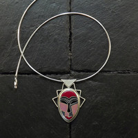 Cloisonne Enameled Silver Necklace - Enameled Kwele Mask II - made to order
