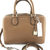 Michael Kors Mercer Medium Duffle Satchel Bag Luggage Brown Crossbody