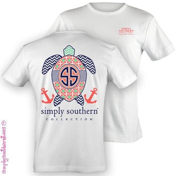 Simply Southern Funny Chevron Turtle Sweet Girlie Bright T Shirt