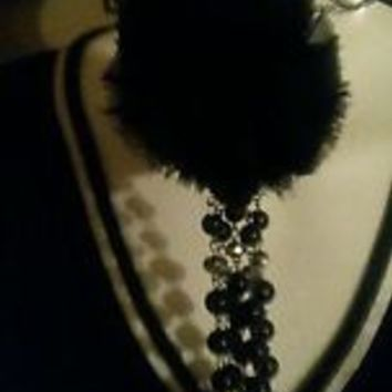 NWOT Cloth Pom Soft Lng Chain necklace w/ crystal beads earrings  BLack n silver