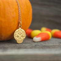 Gold Sugar Skull Necklace - Halloween Jewelry . Matte 24K Gold-Dipped Mexican Sugar Skull Pendant . Day of the Dead . Sugar Skull Wedding