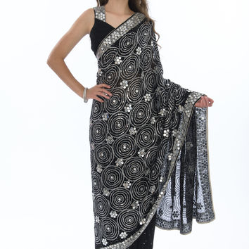 Graceful Silver and Midnight Black Sari