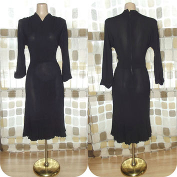 Vintage 40s 50s Black Rayon Crepe Art-Deco Dress 14 M/L Nat Turoff Cocktail Party Bombshell Noir Accordion Pleated Hemline