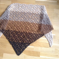 Crochet shawl in 5 brown colors, handmade from Einband