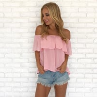 Always Wanting More Off Shoulder Top In Pink