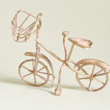 Fairy Garden Miniature Dollhouse Shabby Pink Bike with Basket