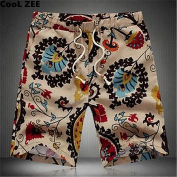 Men Summer Board shorts Brand Mens Beach Shorts homme Short Pants Size 6XL cotton linen Sunga Bermuda Masculina