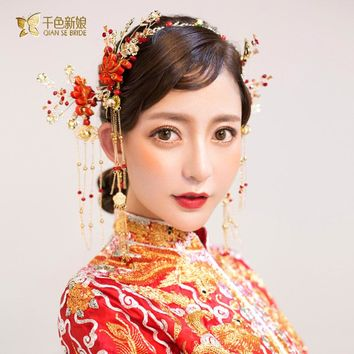Chinese bride headdress costume hairsticks red floral hairpin wedding hairwear and earring photography wedding accessory wenyin